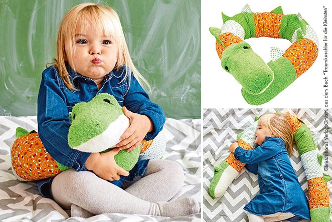 Krokodil-Kissenrolle für Kinder nähen!