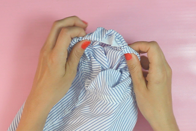 Upcycling männershirt carmenbluse step 11
