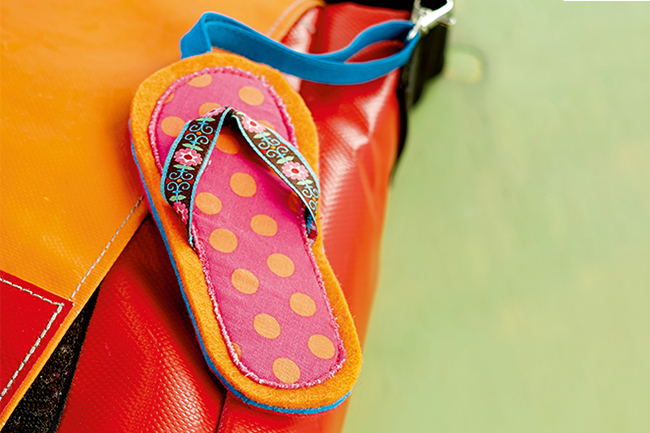 Taschen anhänger diy flip flop cover