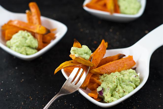 Süßkartoffel pommes avocado dip selber machen main