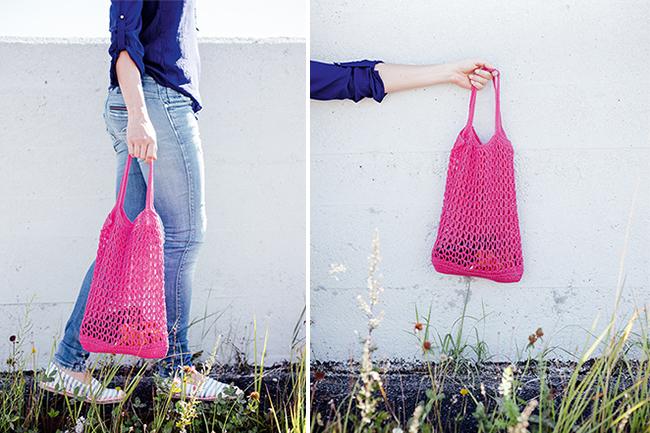 Einkaufstasche mit V-Muster häkeln!
