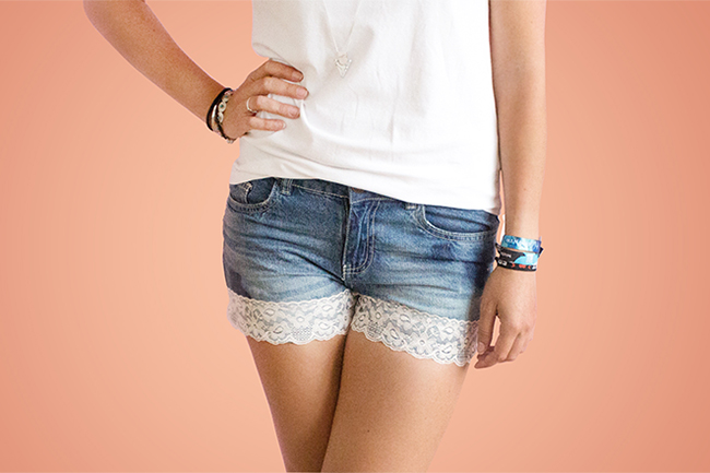Upcycling jeans shorts cover