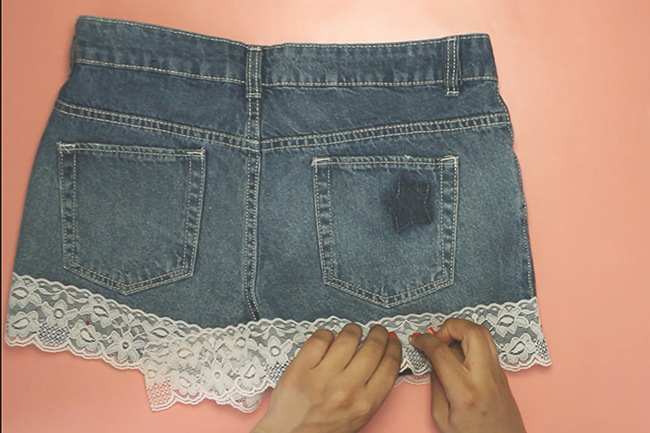 Upcycling jeans shorts step 3
