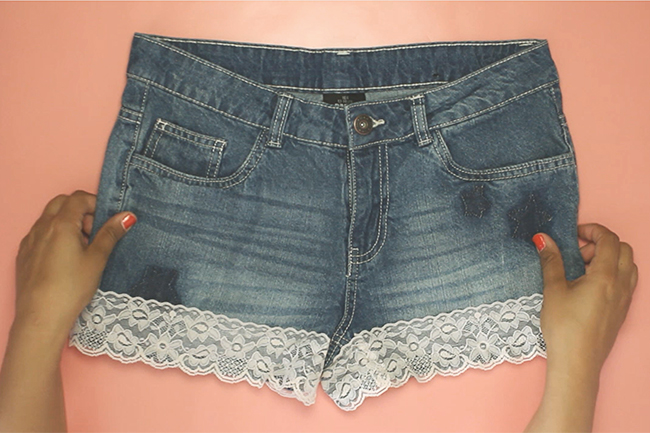Upcycling jeans shorts step 4