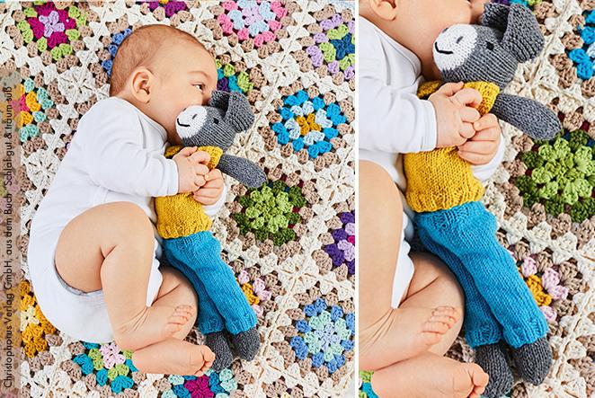 Kuschel esel für babys stricken main