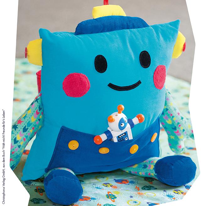 Roboter kissen für kinder nähen ganz