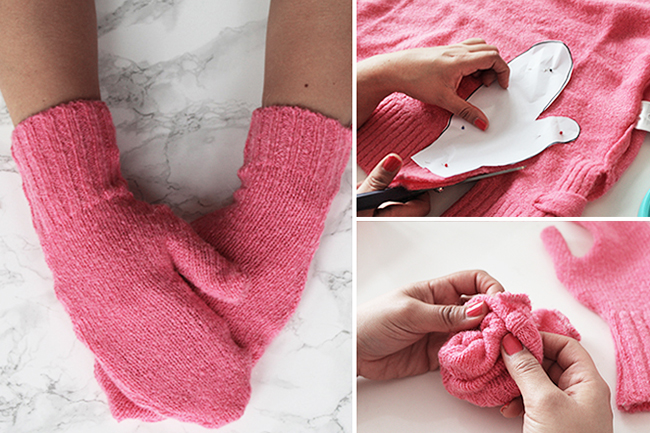 Upcycling handschuhe aus altem pulli nähen cover