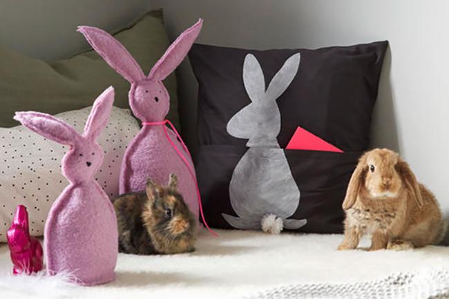 hasen kissen mit t schchen f r s es n hen. Black Bedroom Furniture Sets. Home Design Ideas