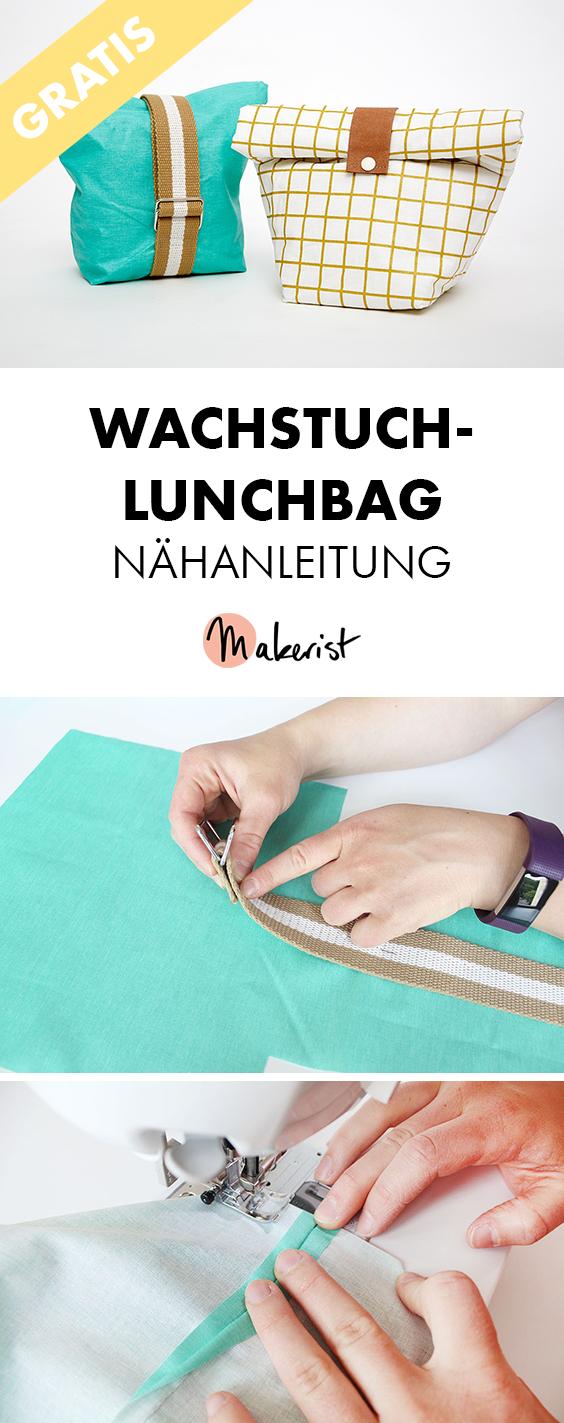 Makerist wachstuch lunchbag nähanleitung longpin