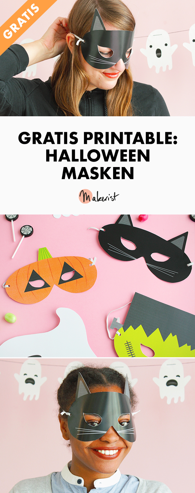 Makerist gratis printable halloween masken pin